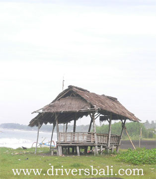 traditional house at kusamba beach